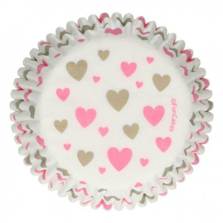 """48 caissettes à cupcakes standard """"Coeurs"""""""