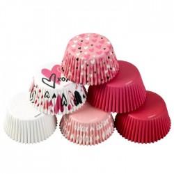 """150 caissettes à cupcakes standard """"Amour"""""""