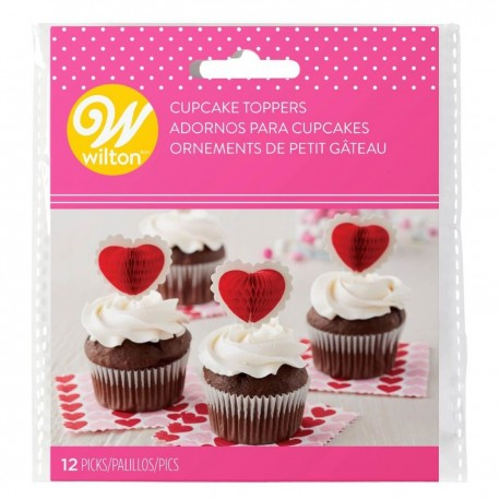 """12 toppers pour cupcakes """"Coeur"""""""
