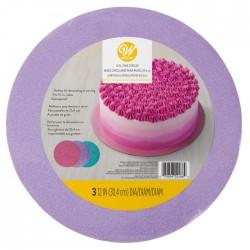 Lot de 3 supports à gâteau ronds rose, pourpre, turquoise brillants - 30,4 cm
