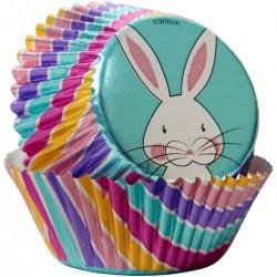 """24 caissettes à cupcakes standard en aluminium """"Lapin"""""""