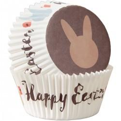 "75 caissettes à cupcakes standard ""Happy Easter"""