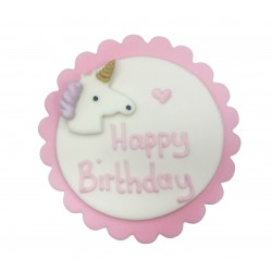 "Décor en sucre licorne rose ""Happy Birthday"""