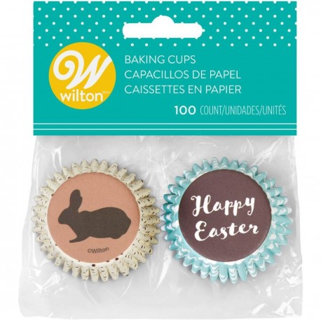 "100 mini caissettes à cupcakes ""Happy Easter"""
