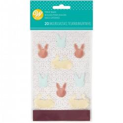 """20 mini sachets à confiseries """"Lapins de Pâques"""" avec attaches"""