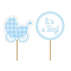 "12 toppers pour cupcakes ""It's a boy"""