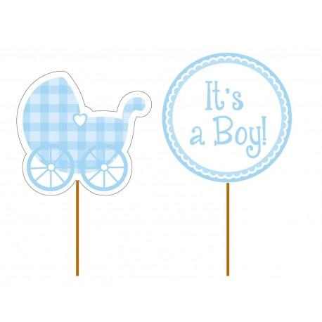 "12 toppers pour cupcakes ""It's a boy"""