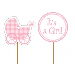 "12 toppers pour cupcakes ""It's a girl"""