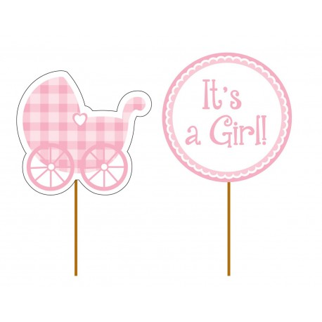 """12 toppers pour cupcakes """"It's a girl"""""""