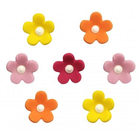 """7 décors en sucre """"Fleurs multicolores"""""""