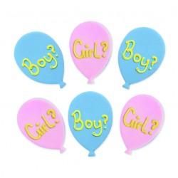 """6 décors en sucre """"Ballons bleus & roses - Baby Shower"""""""