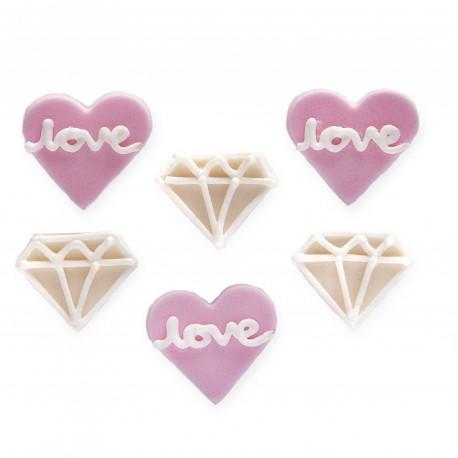 """6 décors en sucre """"Amour & Diamants"""""""