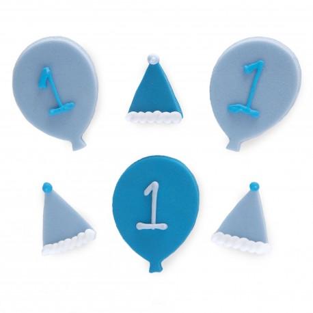 """6 décors en sucre """"Joyeux 1 an - Bleu"""""""