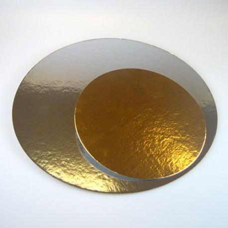 """Lot de 3 cake boards ronds """"doré / argent"""" épaisseur 1 mm - Différentes tailles"""