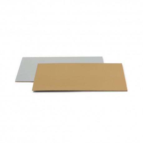 """Cake board rectangulaire """" doré/argent"""" - 25 x 35 x 0.2 cm"""