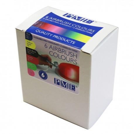 Set de 6 colorants alimentaires liquides pour aérographe - 25 ml