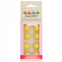 8 boules de dragées au chocolat - jaune