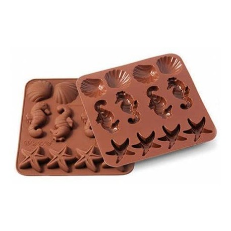 """Moule à chocolat en silicone """"Etoiles, coquillages et Hippocampes"""""""