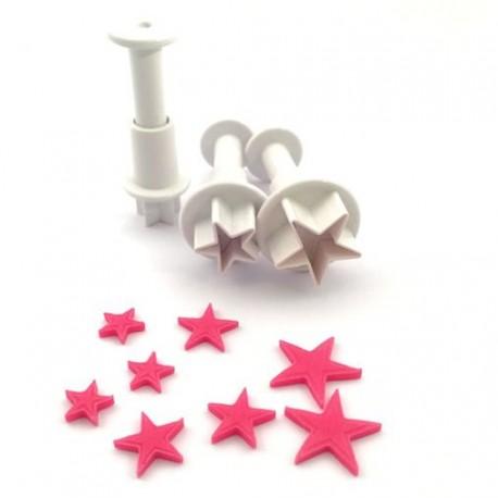 """3 emporte-pièces """"étoiles"""" à poussoir"""