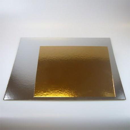 """Lot de 3 cake boards carrés """"Argenté / Doré"""" épaisseur 1 mm - Différentes tailles"""
