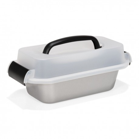 PATISSE SILVER-TOP LOAF PAN WITH CARRYING LID 23CM