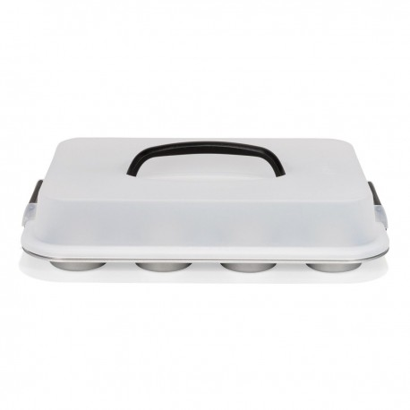 PATISSE SILVER-TOP MUFFIN PAN 12 CAVITY WITH CARRYING LID