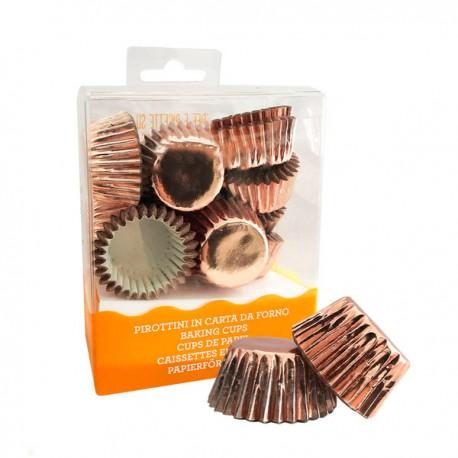180 mini caissettes à cupcakes - Rose doré