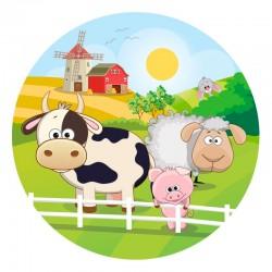 """Disque azyme """"Les animaux de la ferme"""" - 20 cm"""