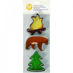 """3 emporte-pièces pour biscuits """"Camping en forêt"""""""