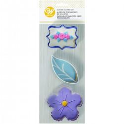 """3 emporte-pièces pour biscuits """"Fleur bleue"""""""