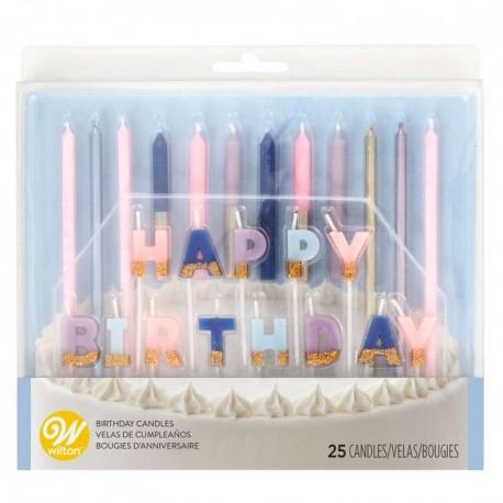 Ensemble de 25 bougies d'anniversaire colorées
