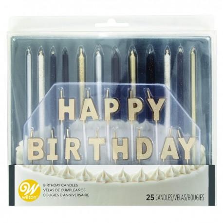 """Ensemble de 25 bougies d'anniversaire """"noir, argenté, doré"""""""