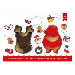 """2 emporte-pièces """"Père Noël et Tête de renne"""""""