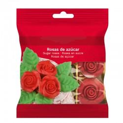 """6 décors en sucre """"Roses rouges"""" et feuilles"""