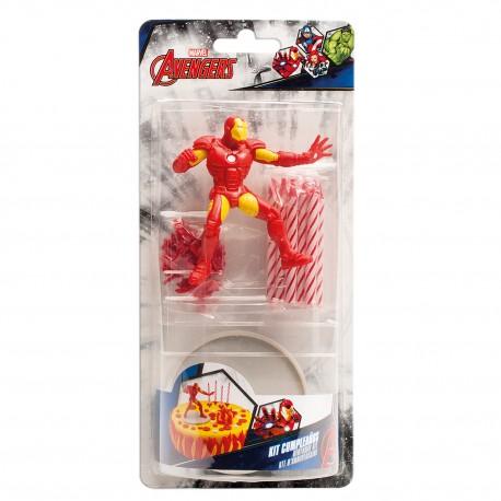 """Kit de 10 bougies d'anniversaire et une figurine """"Iron Man"""""""