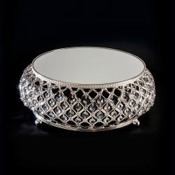 Présentoir à gâteau argent avec miroir et strass