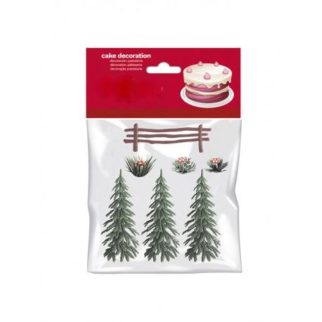 """7 décors pour gâteau """"Forêt d'hiver"""""""