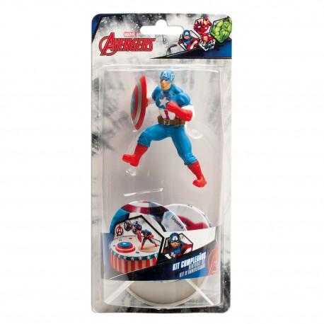 "Figurine ""Captain America"" et 3 toppers"