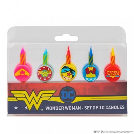 """Lot de 10 bougies d'anniversaire """"Wonderwoman"""" - DC Comics"""
