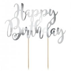 """Topper pour gâteau """"Happy Birthday"""" - Argenté"""