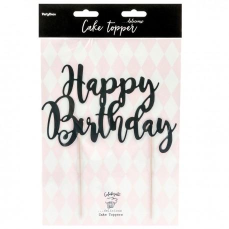 """Topper pour gâteau """"Happy Birthday"""" - Noir"""