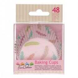 """48 caissettes à cupcakes standard roses """"Plumes"""""""
