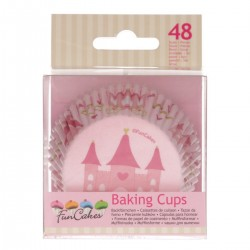 """48 caissettes à cupcakes standard roses """"Château de Princesse"""""""