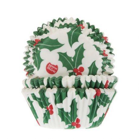 50 caissettes à cupcakes feuilles de houx
