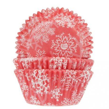 50 caissettes à cupcakes rouges flocons de neige