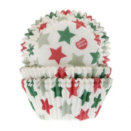 50 caissettes à cupcakes étoiles blanches, vertes et rouges