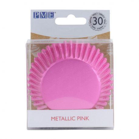 30 caissettes à cupcakes en aluminium rose