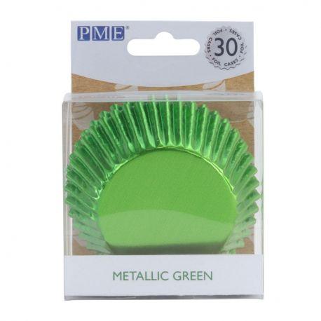 30 caissettes à cupcakes en aluminium vert