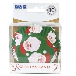 30 caissettes à cupcakes en aluminium père Noël