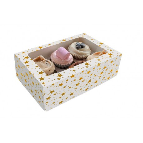 Boîte à cupcakes étoilée (6 cupcakes standards/boîte)